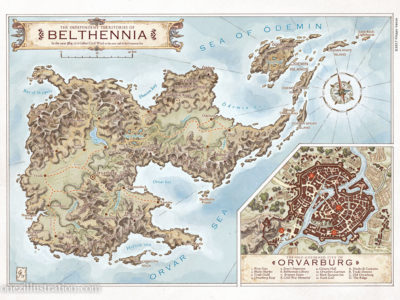 A map of the Independent Territories of Belthennia, and its main city Orvarburg